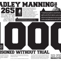 Bradley Manning: 1000 days imprisoned without trial: A3 poster